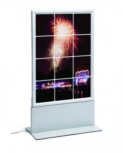 Totem com porta poster de LED Thin alminio anodizado em prata